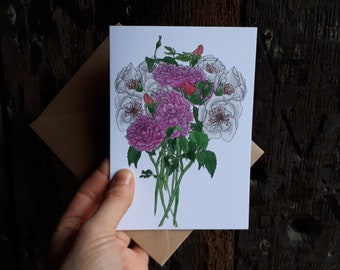 Roses Bouquet Greeting Card featuring botanical illustrations by Alice Draws The Line; birthday, wedding, mothers day card, blank inside