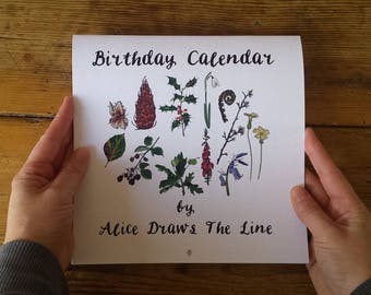 Birthday Calendar by Alice Draws The Line; Seasonal Botanical Woodland Flora Illustrations taking you though the year. Perpetual Calendar