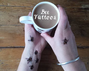 Bee Temporary Tattoos by Alice Draws The Line;adorn yourself in illustration; a mini-sheet of 10 temporary bee tattoos. Bee gift