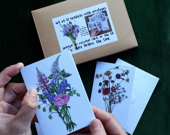 Set of 12 floral notelets by Alice Draws the Line. Mini cards with envelopes in a gift box, bouquets drawn each month for a year, ideal gift