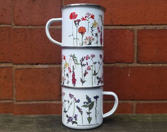 Enamel Mug; Flower illustrations by Alice Draws The line; a camping, hiking, walking, countryside essential tin cup to accompany your flask!