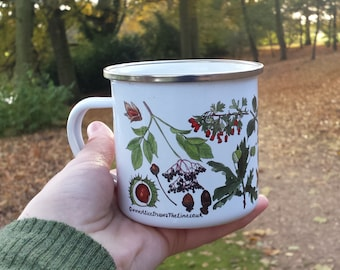 Enamel Mug -Autumn; illustration by Alice Draws The line; a camping, hiking, walking, countryside essential tin cup to accompany your flask!