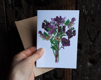 Hellebore Bouquet Greeting Card featuring botanical illustrations by Alice Draws The Line; birthday, wedding, mothers day card, blank inside