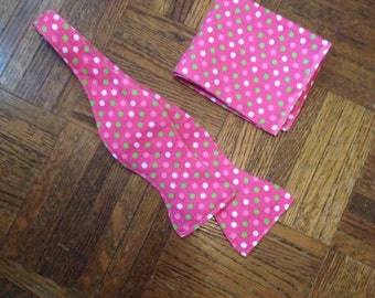 Pink with green and white dots Hand Crafted Bow tie and Pocket Square
