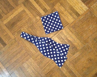 Blue with white polkadots Hand Crafted Bow tie and Pocket Square