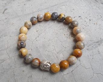 8 mm Crazy lace Agate stone beads, Buddha bracelet, Beadwork, Men'bracelet, Women'bracelet