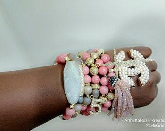 Designer Inspired Ladies Coral Jade bead and Druzy Stone Beaded Bracelet Stack with paved beads. Tassel Beaded Bracelet.