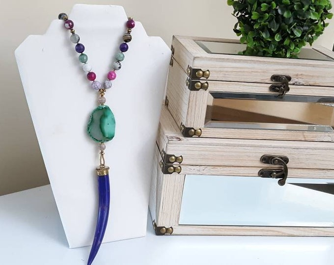Long Horn Tusk Boho Chic Rainbow Faceted Agate Toggle Clasp Beaded Necklace with purple pave beads