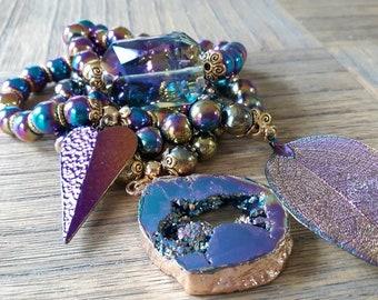 Designer Inspired Ladies Rainbow Hematite, Bracelet Stack set of 4, healing bracelets, beaded bracelet