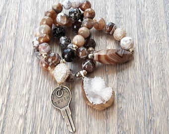 Chunky Ladies Brown mix faceted stone beaded bracelet stack with vintage key and druzy charm