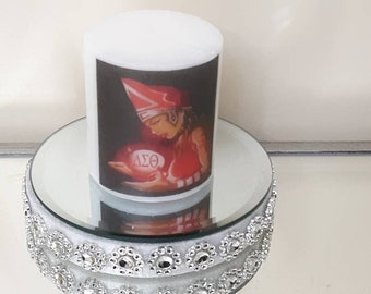 Delta Sigma Theta Sorority Lady With Light Candle, logo candle, personalized candle, birthday gift, anniversary gift