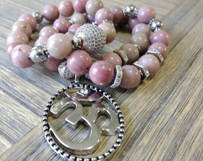 Gemstone Pink Rhodonite Stone & Silver Pave with lucky charm Beaded Bracelet Stack of 3.