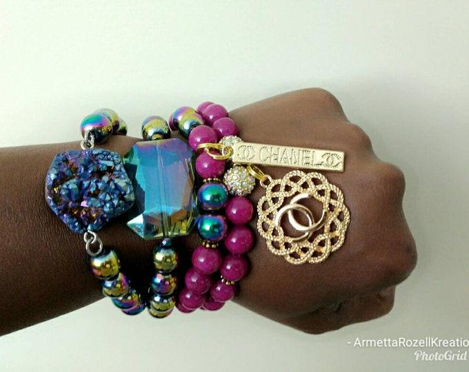 Designer Inspired Ladies Rainbow Hematite, Purple Jade & Stone Beaded Bracelet Stack, healing bracelets, beaded bracelet