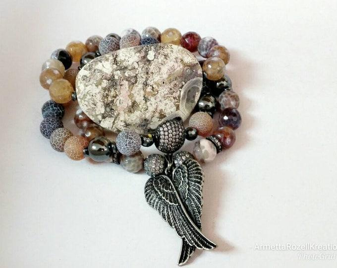 Brown & Tan Agate Gemstone Beaded Bracelet with Vintage Angel Wing Charm Bracelet Trio Stack. Crackle Agate Beaded Bracelet.