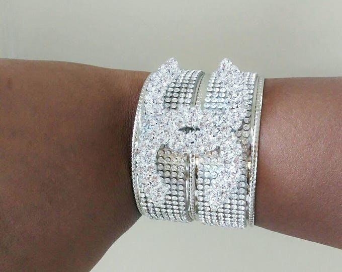 Designer Inspired Ladies Silver Crystal Rhinestones Metal Cuff Bangle Bracelet, anniversary gifts, birthday gifts