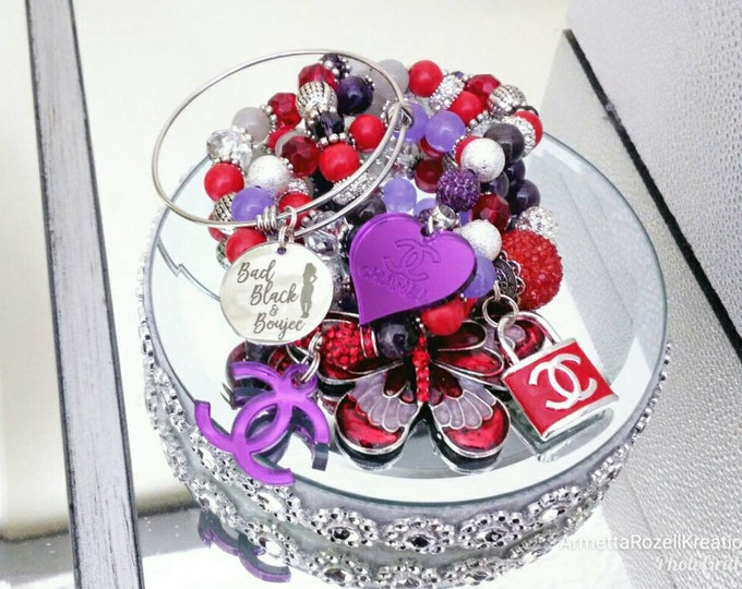 Designer Inspired Red, Silver & Purple Beaded Stainless Steel charm Bracelet Stack