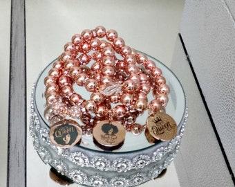 Rosegold Hematite & Stainless Steel Ladies Charm Bracelets