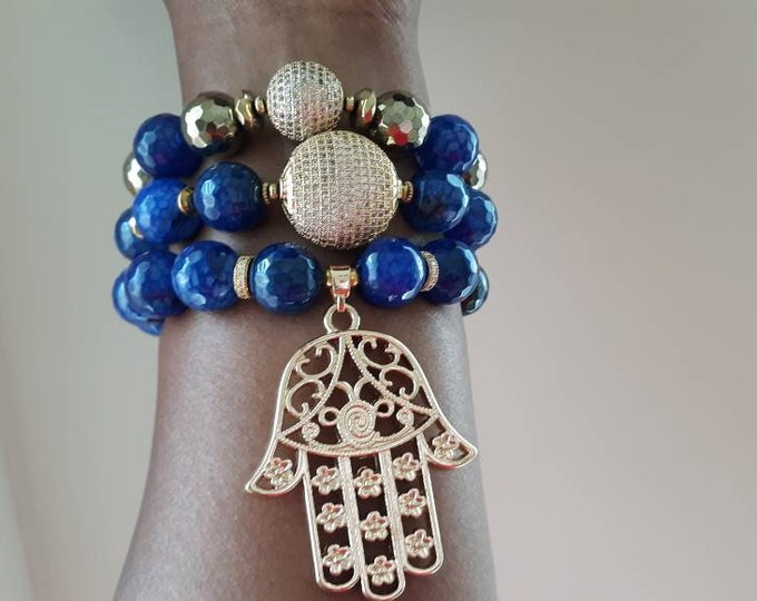 Gemstone Blue Chunky & Hamsa Agate Beaded Bracelet Stack