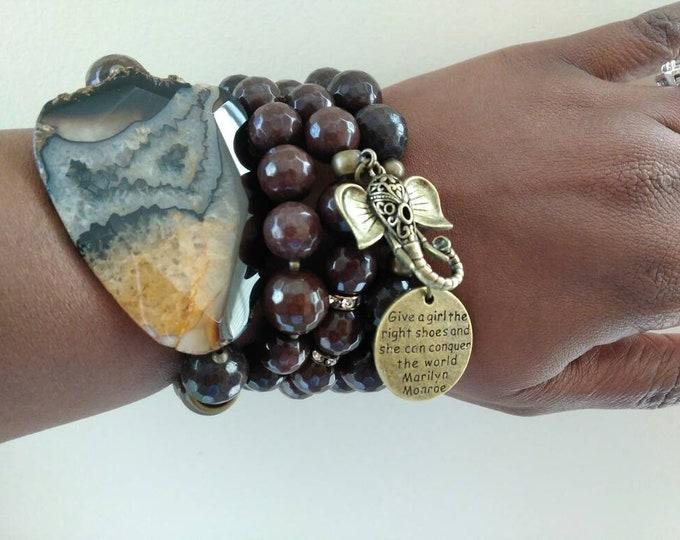 Dark Brown Agate Chunky Beaded Bronze Elephant Bracelet Stack of 4. Healing Bracelets. Gemstone Bracelets. Beaded Bracelet.