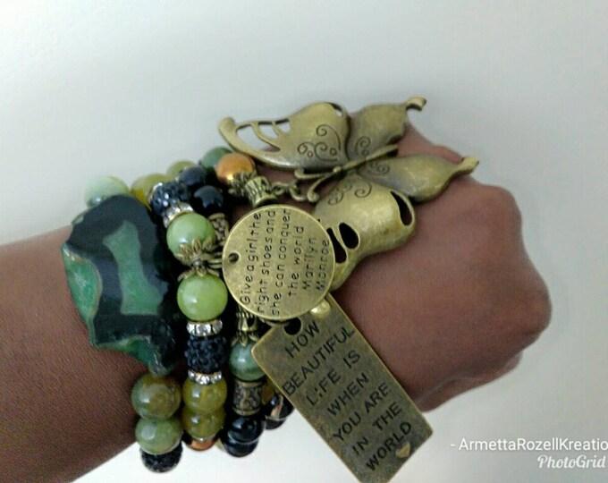 Green Gemstone Chunky Camoflauge Ladies Chunky Beaded Bracelet Stack Set of 4. Bronze butterfly. Healing bracelets. Charm bracelets.