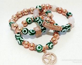 Designer Inspired Ladies Green Agate & DZI Beaded Rose gold Hematite charm bracelet Stack
