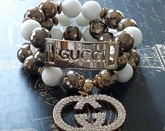 Designer Inspired Ladies Gemstone Chunky Gold & White 2 piece Bracelet Stack.