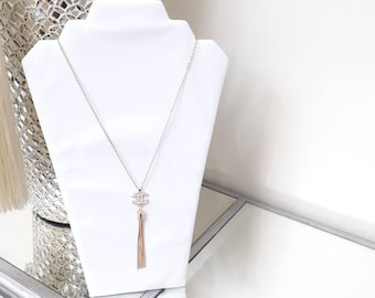 Designer Inspired Ladies Tassel Charm Gold stainless steel necklace. Valentine gift's, gift's for her.