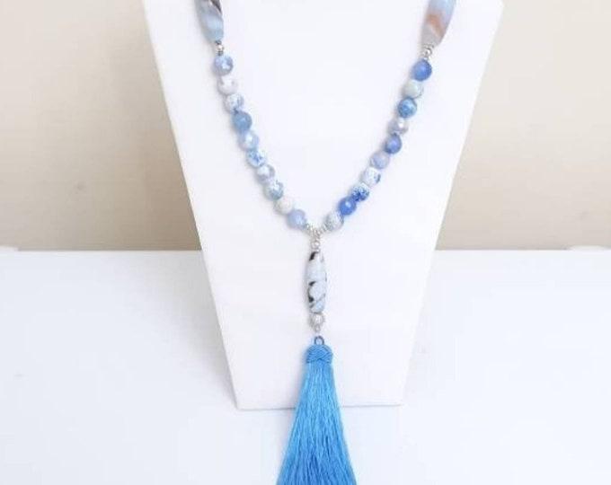 Blue & White Agate Long Tassel Ladies Boho chic Beaded Necklace Set