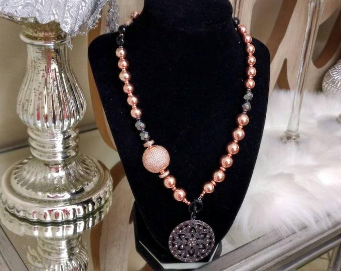 Designer Inspired Ladies Rosegold Hematite & Black Agate Stone anniversary gifts, birthday gifts, Christmas gifts