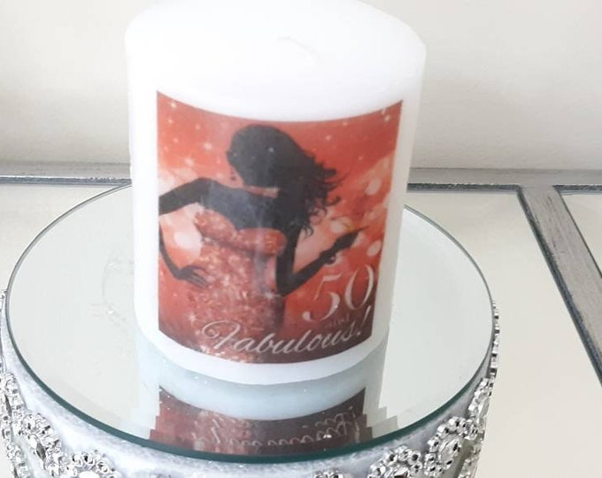 50 And Fabulous wax candle, birthday gifts