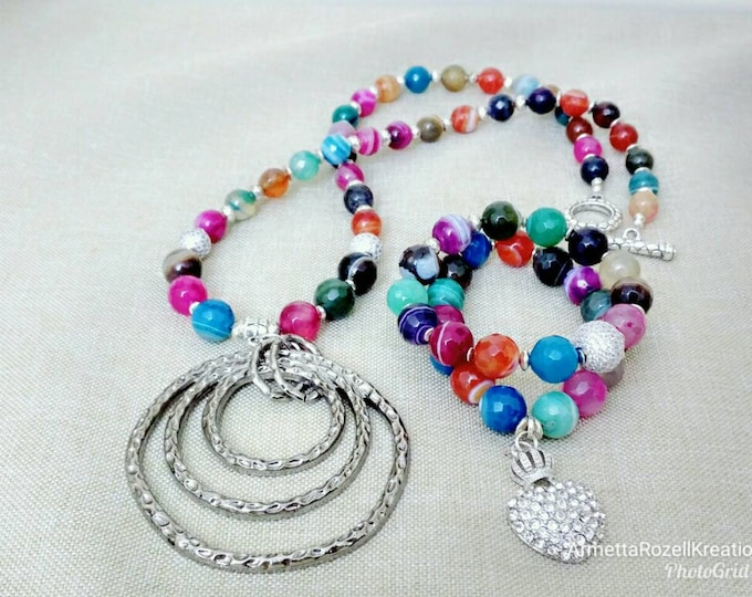 Ladies Rainbow agate gemstones with silver rhinestone charms.