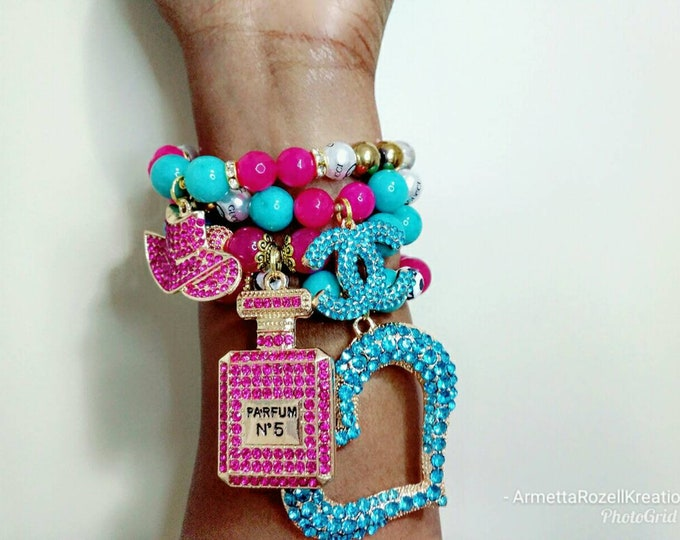 Designer Inspired Ladies Chunky & Gaudy Perfume bottle and heart Magenta Purple and turquoise beaded bracelet stack of 4.