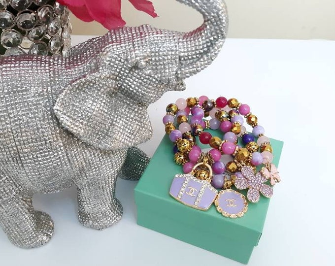 Purple and Pink Jade beaded ladies bracelet set.