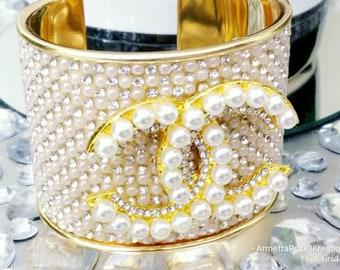 Designer Inspired Ladies Cuff Pearl & Rhinestone Gold Bangle