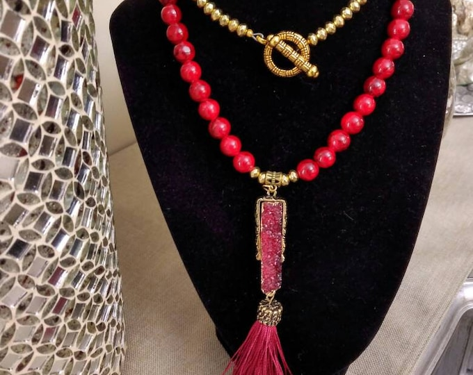 Red Quartzite Ladies Gemstone Tassel & Stone pendant necklace, Christmas Gifts, sweater necklace.