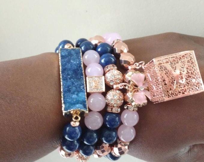 Designer Inspired Ladies Pink & Navy Blue Jade Beaded Butterfly Bracelet Stack, with Rose Gold Hematite and Blue Stone, Bracelet Stack