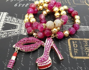 Designer Inspired Chunky Ladies Pink & Gold Chunky Beaded Trio Stack