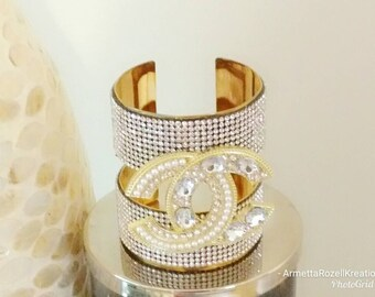 Ladies Gold Rhinestone Metal Cuff wrap Bangle anniversary gifts, birthday gifts, wedding jewelry