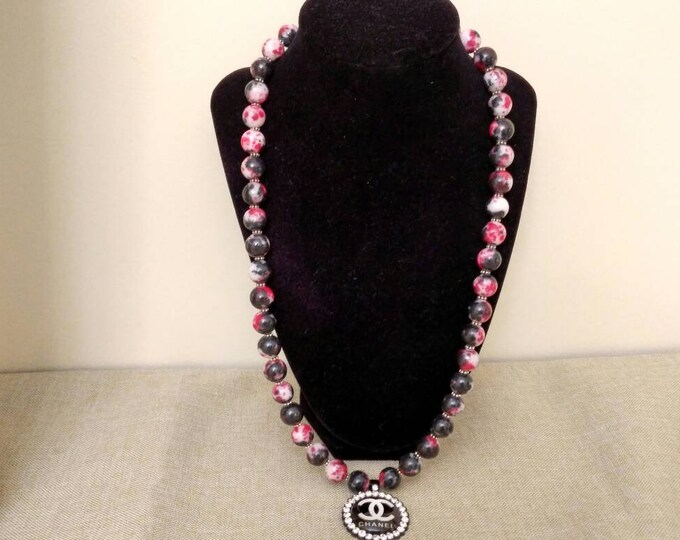 Designer Inspired Ladies Black, Red and white Gemstone Beaded necklace with pendant.