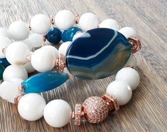 Chunky white faceted gemstone & blue aqua focal beads with rose gold paved beads, valentine gifts