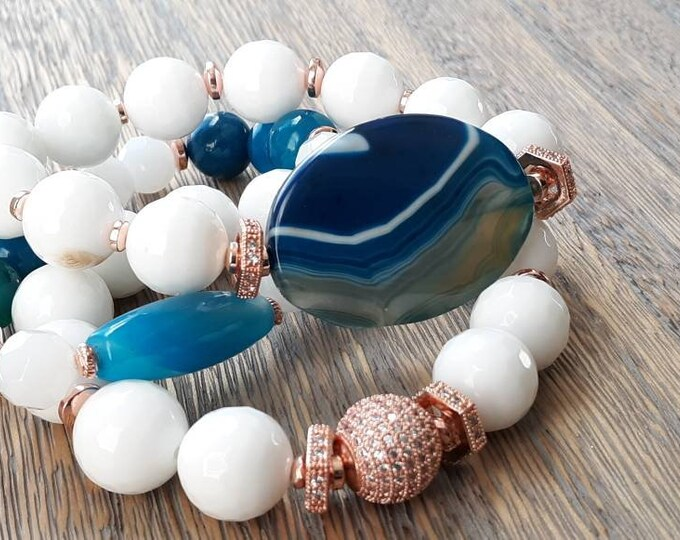 Chunky white faceted gemstone & blue aqua focal beads with rose gold paved beads, Gifts for her.