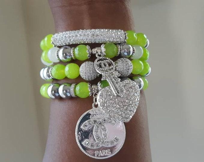 Designer Inspired Ladies Neon Green Beaded Bracelet stack of 4.