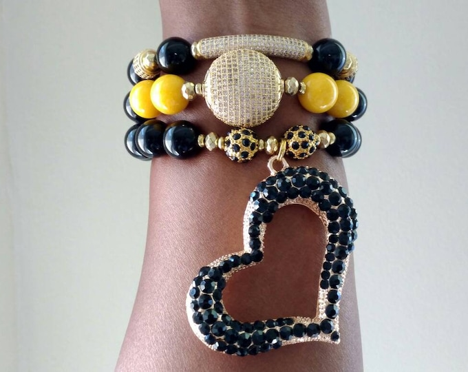 Designer Inspired Chunky Ladies Black & Yellow Gemstone Beaded Heart Bracelet Trio Stack of 3.