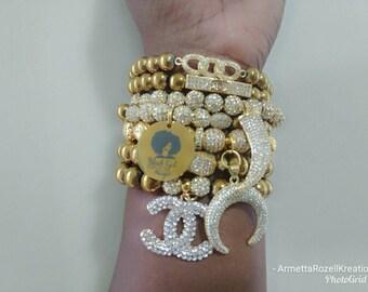 Designer Inspired Ladies Gold Zircon & Paved Stainless Steel Black Girl Magic Beaded Bracelet Stack of 7
