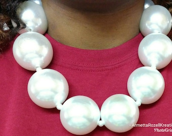Chunky oversized Pearl choker necklace and bracelet set, anniversary gifts, birthday gifts, mother's day gifts, wedding jewelry