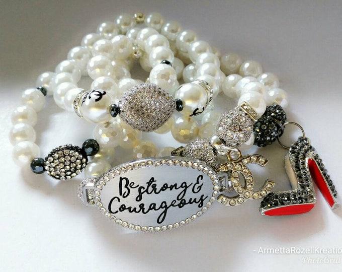 Designer Inspired Ladies White Mother of pearls zircon paved Beaded Charm Bracelet Stack, wedding jewelry, Yoga Bracelet's