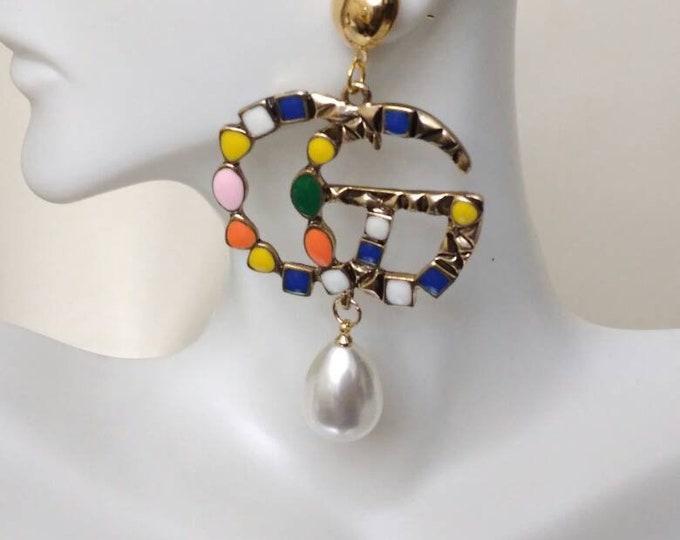 """Vintage Rainbow Gold Look letter """"G"""" Ladies Stud Wedding Earrings, Party earrings, birthday earrings"""