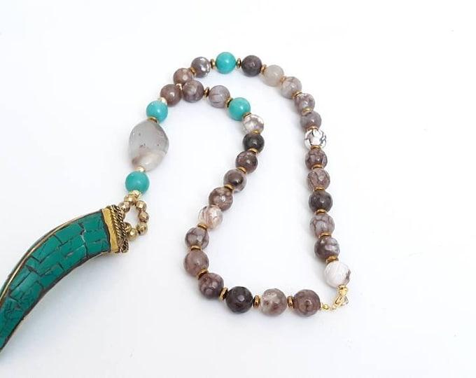 Agate Gemstone Horn Ladies Long necklace