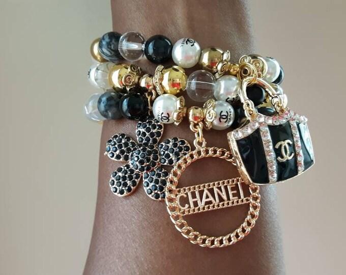 Designer Inspired Ladies Black, Gold and Pearl Beaded Bracelet Stack