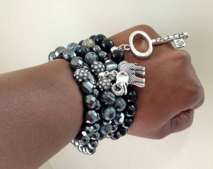Ladies Zebra Mixed Gemstone & Hematite Beaded bracelet stack of 5, elephant, faith and love bracelet set.